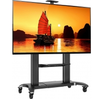 TV Standfuss mit Rollen Drehbar Höhenverstellbar Universal Fernsehständer CF100