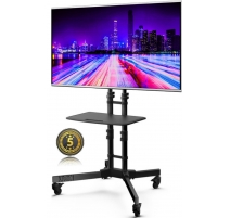 Universal TV Standfuß mit Rollen Drehbar Höhenverstellbar Fernsehständer TS122